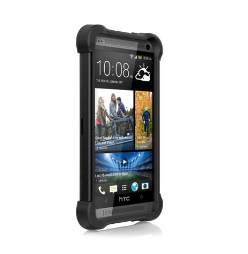 Ballistic Black SG MAXX Series Hard Back Cover Over Silicone Skin Case w/ Built-In Screen Protector & Holster for HTC One - SX1135-A065