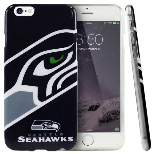 Apple iPhone 6/ 6S Case, NFL Licensed [Seattle Seahawks]  Slim & Flexible Anti-shock Crystal Silicone Protective TPU Gel Skin Case Cover