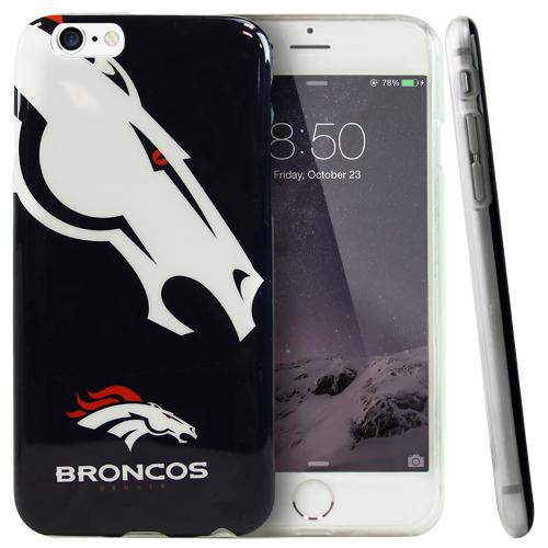 Apple iPhone 6/ 6S Case, NFL Licensed [Denver Broncos]  Slim & Flexible Anti-shock Crystal Silicone Protective TPU Gel Skin Case Cover