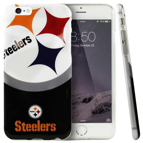 Apple iPhone 6/ 6S Case, NFL Licensed [Pittsburgh Steelers]  Slim & Flexible Anti-shock Crystal Silicone Protective TPU Gel Skin Case Cover
