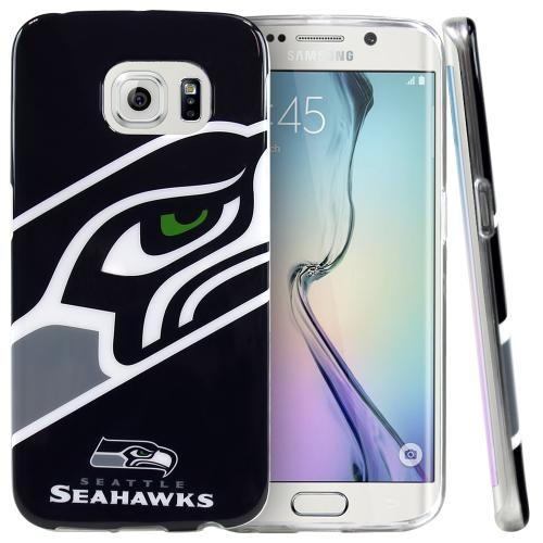 Samsung Galaxy S6 Edge Case, NFL Licensed [Seattle Seahawks]  Slim & Flexible Anti-shock Crystal Silicone Protective TPU Gel Skin Case Cover