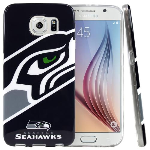 Samsung Galaxy S6 Case, NFL Licensed [Seattle Seahawks]  Slim & Flexible Anti-shock Crystal Silicone Protective TPU Gel Skin Case Cover