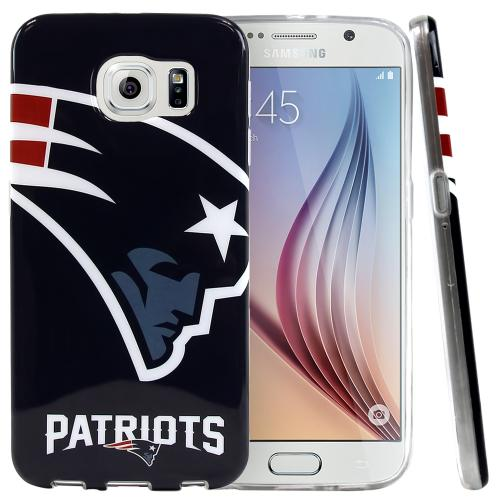 Samsung Galaxy S6 Case, NFL Licensed [New England Patriots]  Slim & Flexible Anti-shock Crystal Silicone Protective TPU Gel Skin Case Cover