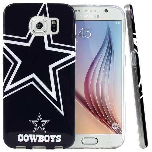 Samsung Galaxy S6 Case, NFL Licensed [Dallas Cowboys]  Slim & Flexible Anti-shock Crystal Silicone Protective TPU Gel Skin Case Cover