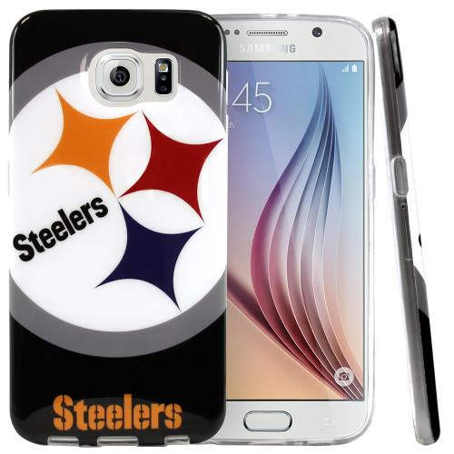 Samsung Galaxy S6 Case, NFL Licensed [Pittsburgh Steelers]  Slim & Flexible Anti-shock Crystal Silicone Protective TPU Gel Skin Case Cover