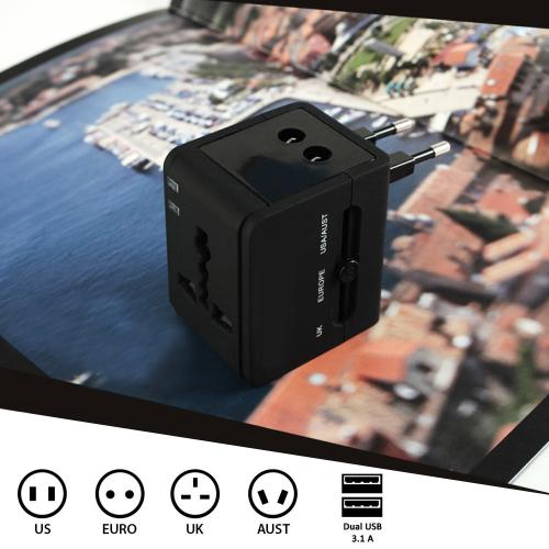 Universal Black All In One International Travel Power Converter Plug Adapter Charger With 2 USB Ports - Charge around the World!