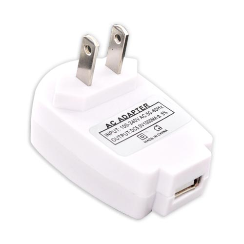 Universal USB Travel A/C WallCharger Adapter - White
