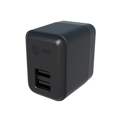 AT&T Black Dual (2.1A & 1.0A) USB Wall Charger - TC03 (Charge a Tablet & Phone at the Same Time!)