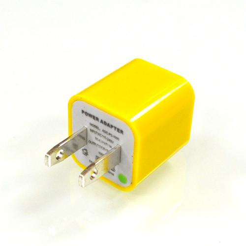 Yellow Apple iPhone 3/ 4/ 5/ SE USB Input Travel/ Home Wall Charger Adapter