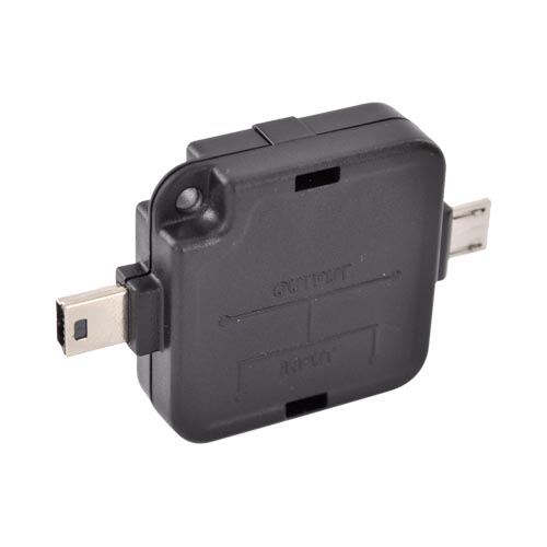 Premium Micro/ Mini-USB Power Adapter Splitter- Black