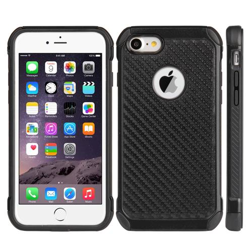 [Apple iPhone 7] (4.7 inch) Case, Tough Hybrid Case [Black TPU] + [Black] Hard Cover W/ Carbon Fiber Design