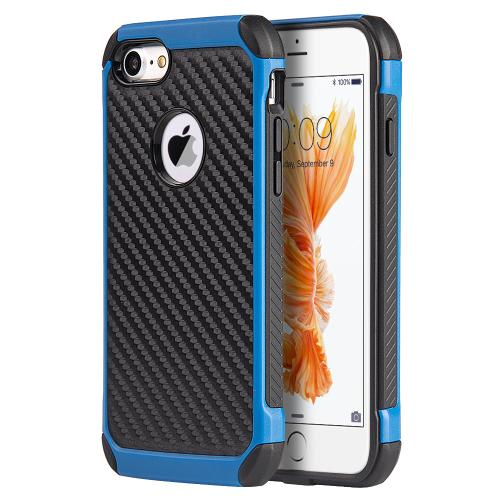 Apple iPhone 7 (4.7 inch) Case, Tough Hybrid Case [Black TPU] + [Blue] Hard Cover W/ Carbon Fiber Design