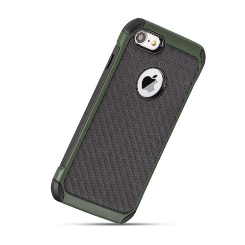 Apple iPhone 7 (4.7 inch) Case, Tough Hybrid Case [Black TPU] + [Army Green] Hard Cover W/ Carbon Fiber Design