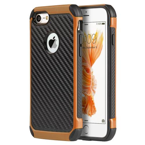 [Apple iPhone 7] (4.7 inch) Case, Tough Hybrid Case [Black TPU] + [Orange] Hard Cover W/ Carbon Fiber Design