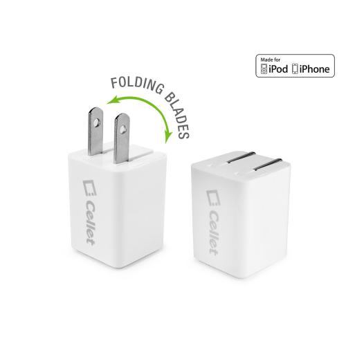 5 Watt (1 Amp) with Folding Blades Single Port Home Charger (30 Pin Cable Included, Apple MFI Certified) [White]