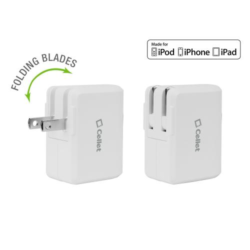 2.4 Amp (12W) Folding Blade Home / Travel USB Wall Charger with 4ft. Apple MFI Certified Lightning 8 Pin to USB Cable [White]