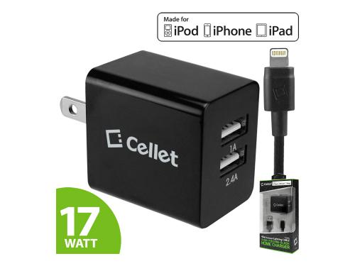 Black 17 Watts (3.4 Amp) Folding Blades 2-Port Lightning Compatible Wall Charger