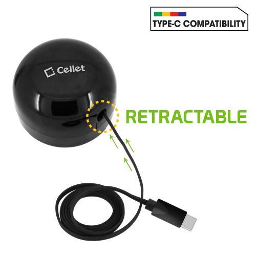3 Amp / 15Watt High Powered USB Type-C Retractable Home Charger [Black]