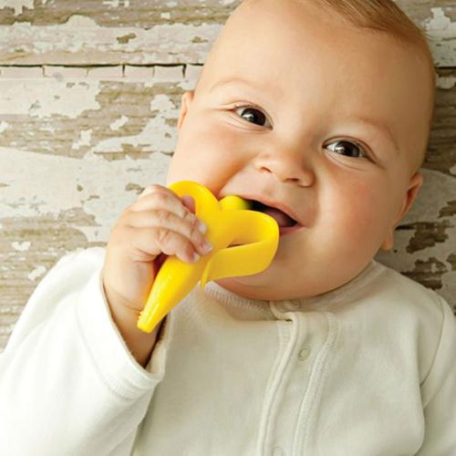 Banana Baby Teether Training Toothbrush w/ Soft & Flexible Silicone [Yellow]