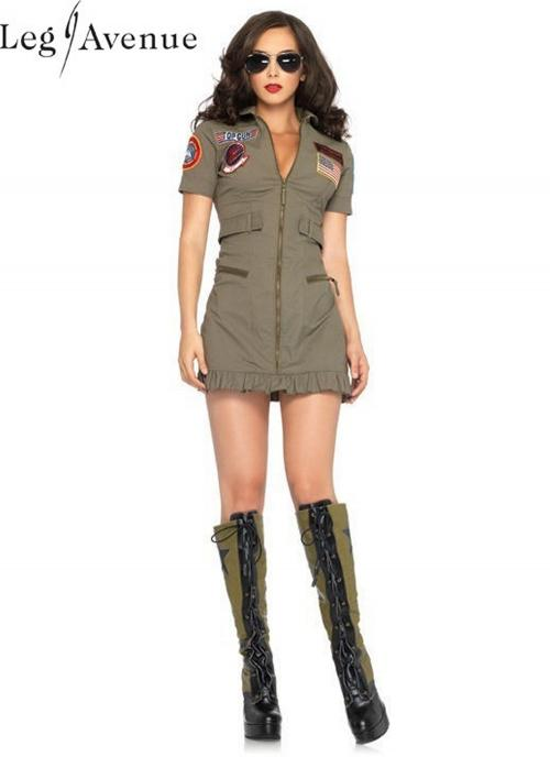 LegAvenue Halloween Costume Original Top Gun Flight Zipper Front Dress w, Interchangeable Name Badges & Aviator Sunglasses TG83700