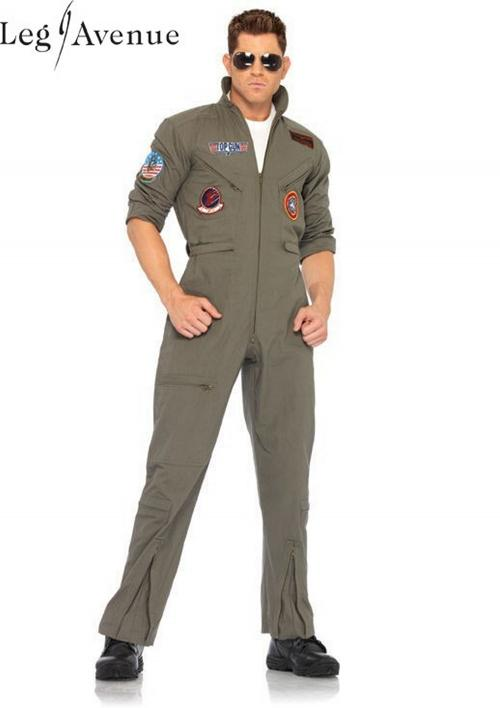 LegAvenue Costume Original Top Gun Men's Flight Zipper Front Dress w, Interchangeable Name Badges & Aviator Sunglasses TG83702