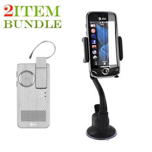 T-Mobile G2 Bundle Package - Macally Suction Cup Mount & Original Bluetooth Headset w/ Solar Charging Speakerphone, HBM-810 - Silver - (Roadster Combo)