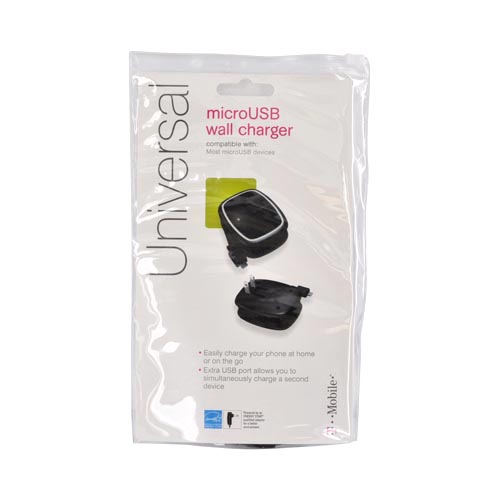 Original T-Mobile Universal Micro USB Travel Charger w/ Extra USB Port - Black/ Silver