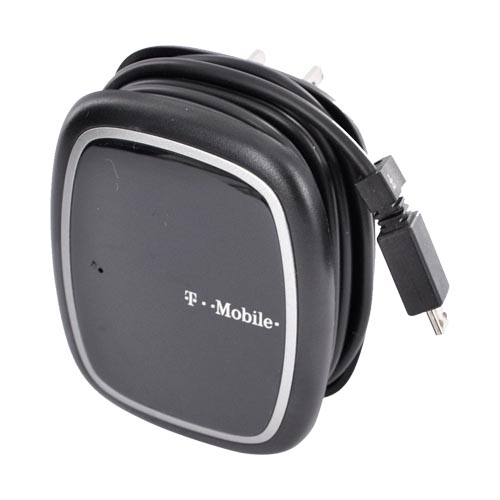 Original T-Mobile Micro USB Travel Charger w/ Extra USB Port - Black/ Silver