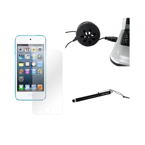 Apple iPod Touch 5 Essential Bundle Package w/ Universal Mini Portable 3.5mm Black Speaker, Premium Screen Protector, & Black Touch Stylus Pen