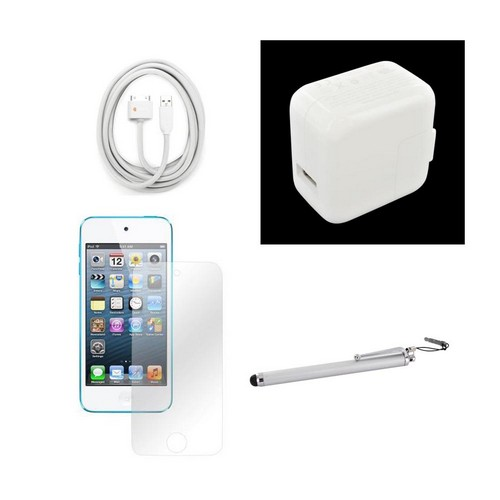 Apple iPod Touch 5 Couch Potato Bundle Package w/ Griffin 9.8FT White USB Cable, Original Apple USB Wall Power Adapter (2100mAH), Anti-Glare Screen Protector, Silver Stylus