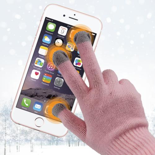 Universal Capacitive Touch Screen Gloves (One Size) - [Baby Pink/ Gray]