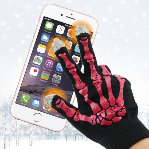 Black w/ Hot Pink Skeleton Bones Universal Capacitive Touch Screen Gloves (One size)