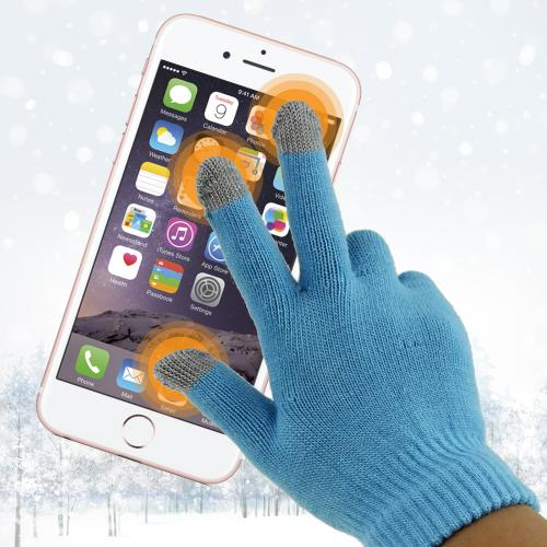 Universal Capacitive Touch Screen Gloves (One Size) - [Sky Blue/ Gray]