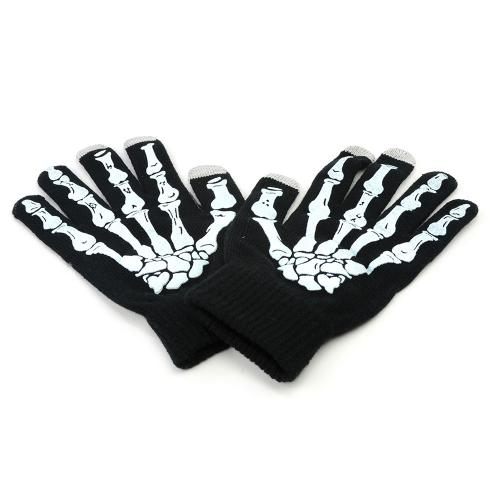 Black w/ White Skeleton Bones Universal Capacitive Touch Screen Gloves (One size)