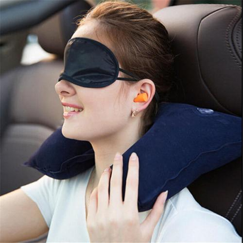3-in-1 Travel Bundle w/ U-shaped Inflatable Neck Pillow [Navy], Eye Shade, & Ear Plugs
