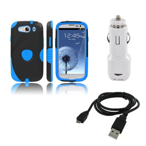 Samsung Galaxy S3 Bundle w/ Blue/ Black Aegis Hard Case Over Silicone, Screen Protector, Dual USB Car Charger Adapter & Micro USB Data Cable