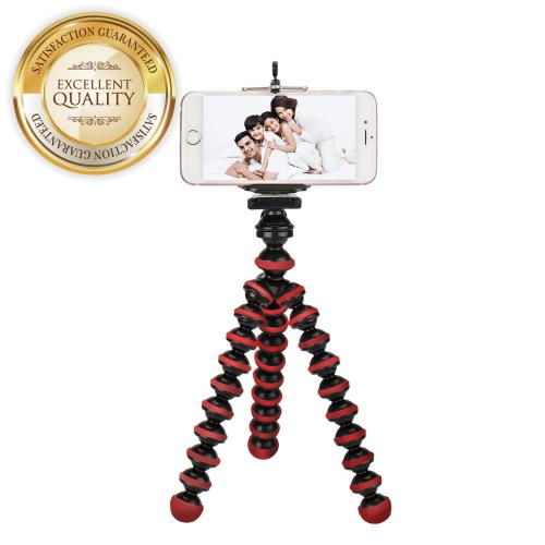 Red/ Black Universal Tripod w/ Flexible Octopus Legs & Adjustable Holder - Fits Galaxy Note Size Phones!