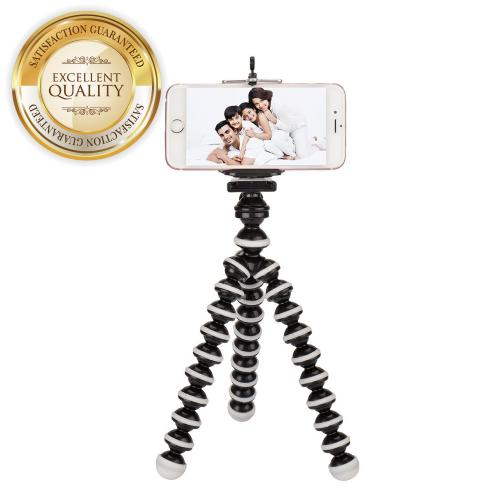 White/ Black Tripod w/ Flexible Octopus Legs & Adjustable Holder - Fits Galaxy Note Size Phones!