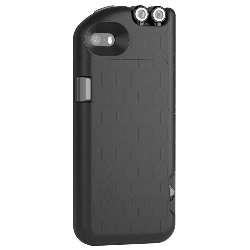 Apple iPhone SE / 5 / 5S  Case, Turtlecell [Black]  Hard Cover Case w/ Retractable Headphones