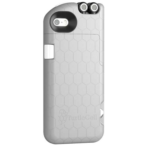 Apple iPhone SE / 5 / 5S Case, TurtleCell [Light Grey] Premium Hard Case w/ Retractable Headphones and Modern Hexagonal Pattern for Apple iPhone SE / 5 / 5S