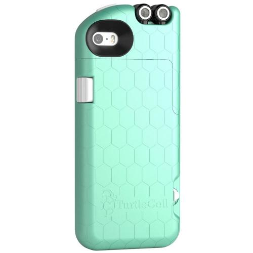 iPhone 5 / 5S Case, TurtleCell [Mint] Premium Hard Case w/ Retractable Headphones and Modern Hexagonal Pattern for Apple iPhone 5 / 5S