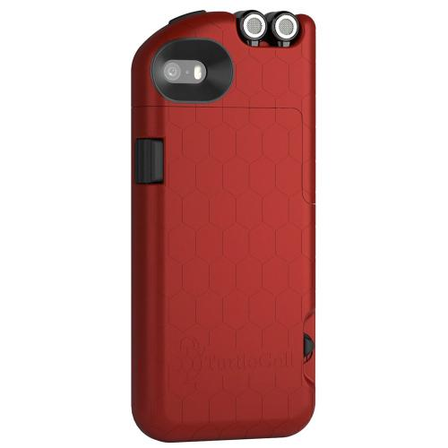 iPhone 5 / 5S Case, TurtleCell [Red] Premium Hard Case w/ Retractable Headphones and Modern Hexagonal Pattern for Apple iPhone 5 / 5S