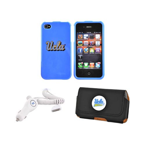 AT&T / Verizon iPhone 4, iPhone 4S UCLA Bundle w/ Hard Case, UCLA Leather Pouch, & Car Charger