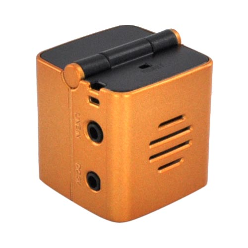 Original Vulcan Universal Mini-Qube Wireless Bluetooth Speaker w/ Neck Strap, 2.5mm to 3.5mm Audio Cable, & USB Cable, UIBS400 - Orange