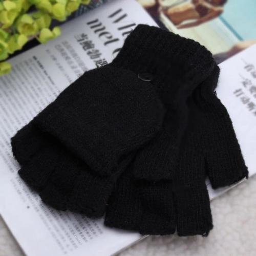 [Black] Kintted Flip Mittens, Fingerless Gloves For Unisex