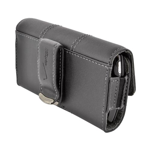 Original Verizon Universal AT&T/ Verizon Apple iPhone 4, iPhone 4S Leather Horizontal Pouch w/ Swivel Belt Clip & Magnetic Closure, UNIPDASDPCH3 - Black (PUTL)