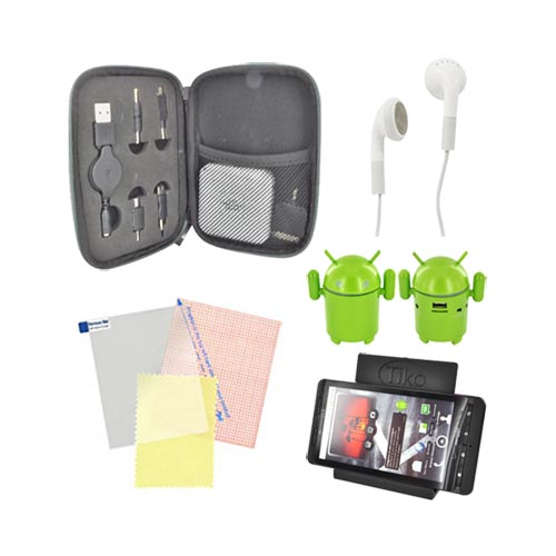 Universal Summer Bundle Package w/ Sharper Image Universal Portable Charger, Android Speaker, Screen Protector, 3.5mm Earbuds, and Tiko Stand