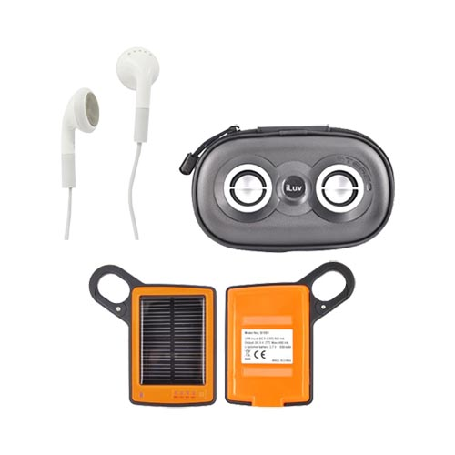 Universal Summer Bundle Package w/ Black iLuv Portable Speaker, 3.5mm Earbuds, & Solar Charger