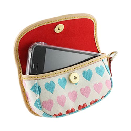 Original Dooney & Bourke Universal Pouch Case w/ Magnetic Closure and Strap, UR24MU - Blue, Green, Pink Hearts on White (PUTL)