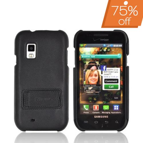 Original Zenus Samsung Fascinate i500 Prestige Leather Case Bar Series w/ Stand - Black